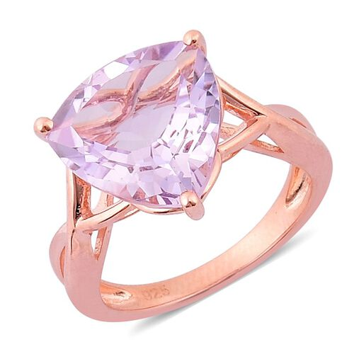 Rose De France Amethyst (Trl) Solitaire Ring in Rose Gold Overlay Sterling Silver 5.250 Ct.