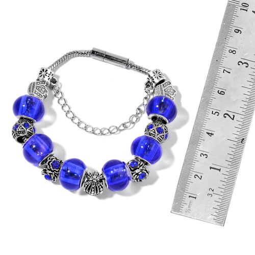 Blue Austrian Crystal and Murano Glass Bracelet (Size 7.5) in Black Tone