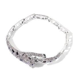 AAA White Austrian Crystal Leopard Bracelet (Size 8) in Silver Tone