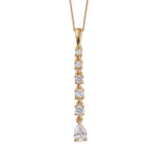 J Francis - 14K Gold Overlay Sterling Silver (Pear) Pendant With Chain Made with SWAROVSKI ZIRCONIA