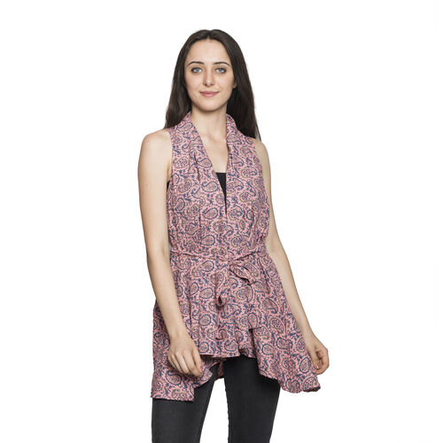 Multi Colour Paisley and Leaves Pattern Coral Ethnic Colour Sleevelsss Apparel (Size 80x60 Cm)