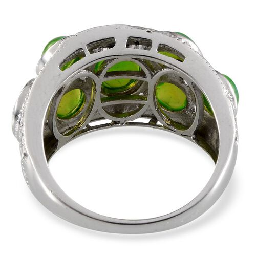 Green Ethiopian Opal (Ovl 1.00 Ct), Diamond Ring in Platinum Overlay Sterling Silver 3.020 Ct.