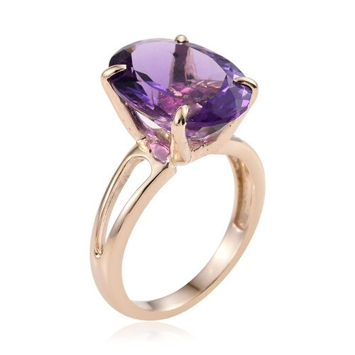 9K Y Gold Zambian Amethyst (Ovl) Solitaire Ring 8.500 Ct.