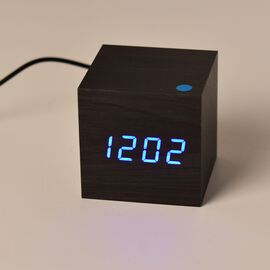 Wooden Style LED Clock ( With Sound Activation, 3 Alarm Setting, Room Temperature, Date Display Feature) Black- Blue