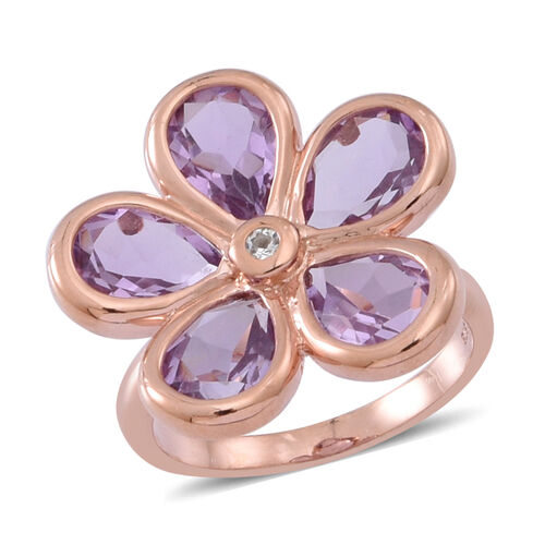 Rose De France Amethyst (Pear), Natural Cambodian White Zircon Floral Ring in 14K Rose Gold Overlay Sterling Silver 6.500 Ct.