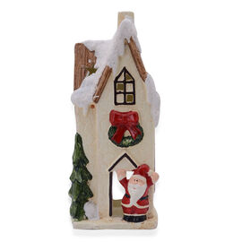 (Option 2) Home Decor - Multi Colour Ceramic House Shape Candle Holder with Tree and Santa Claus