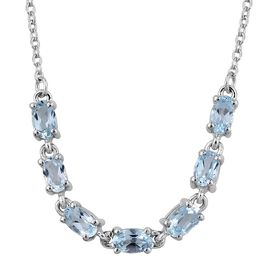 Sky Blue Topaz (Ovl) 7 Stone Necklace (Size 18) in Platinum Overlay Sterling Silver 2.000 Ct.