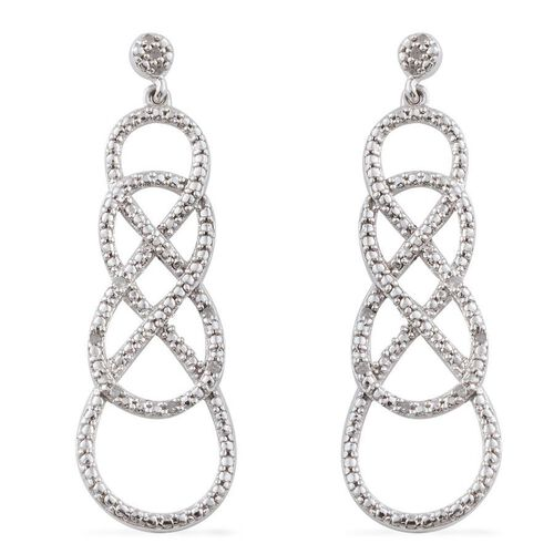 Diamond (Rnd) Earrings in Platinum Overlay Sterling Silver 0.100 Ct.