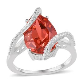 Crystal from Swarovski - Padparadscha Colour Crystal (Pear) Solitaire Ring in Sterling Silver 4.750 Ct.