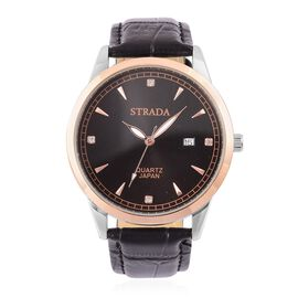 STRADA Japanese Movement White Austrian Crystal Studded Dial Watch in Rose and Silver Tone with Stainless Steel Back and Black Leather Strap
