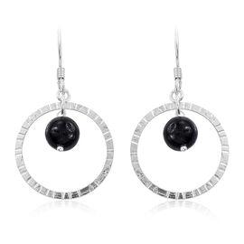 Black Jade Diamond Cut Hook Earrings in Sterling Silver 8.770 Ct.
