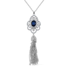 Simulated Blue Sapphire and White Austrian Crystal Pendant With Chain in Silver Tone