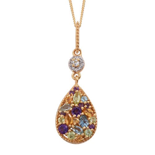 GP Amethyst (Rnd), Citrine, Hebei Peridot, White Topaz and Multi Gem Stone Pendant with Chain in 14K Gold Overlay Sterling Silver