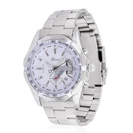 GENOA Automatic Skeleton White Dial Water Resistant Watch in Silver Tone with Stainless Steel Back and Chain Strap