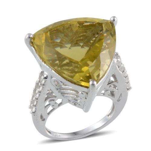 Brazilian Green Gold Quartz (Trl 25.00 Ct), White Topaz Ring in Platinum Overlay Sterling Silver 25.750 Ct.