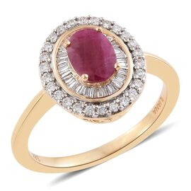 ILIANA 18K Yellow Gold 1.25 Ct. AAA Pigeon Blood Burmese Ruby Halo Ring with Two Row Diamond SI/G-H