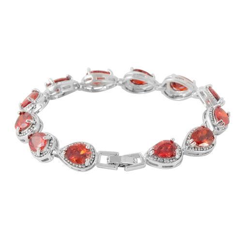 JCK Vegas Collection AAA Simulated Spessartine Garnet (Pear) Bracelet (Size 7) in Silver Bond