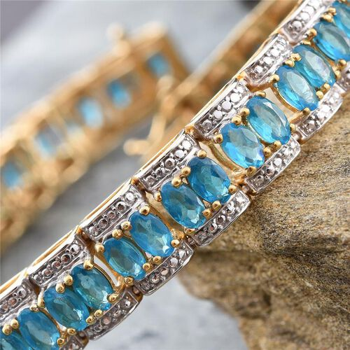 Malgache Neon Apatite (Ovl), Diamond Bracelet (Size 8) in 14K Gold Overlay Sterling Silver 12.020 Ct.