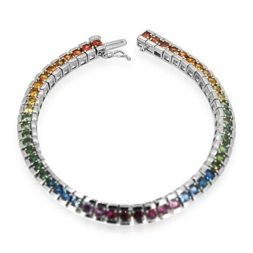 AAA Pink Sapphire, Blue Sapphire, Green Sapphire, Yellow Sapphire, Red and Orange Sapphire Bracelet (Size 8.5 Inch) in Rhodium Plated Sterling Silver  7.750 Ct.