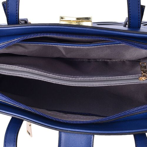 Navy Colour Tote Bag (Size 34x24.5x13 Cm) with External Zipper Pocket and Adjustable Shoulder Strap