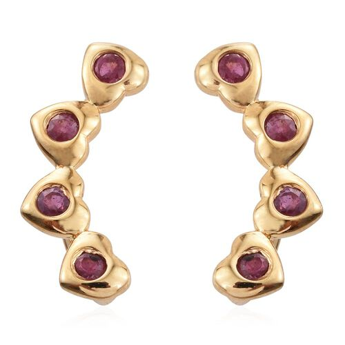 African Ruby 0.25 Ct Silver Heart Climber Earrings in Gold Overlay