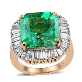 ILIANA 18K Y Gold Boyaca Colombian Emerald (Oct 12.65 Ct), Diamond Ring 14.650 Ct.