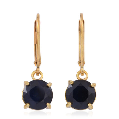 Blue Sapphire (Rnd) Lever Back Earrings in 14K Gold Overlay Sterling Silver 5.000 Ct.