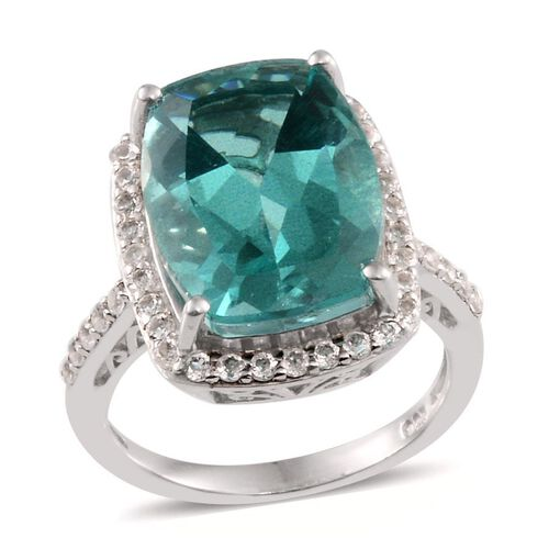 Paraiba Tourmaline Colour Quartz (Cush 11.50 Ct), White Topaz Ring in Platinum Overlay Sterling Silver 12.250 Ct.
