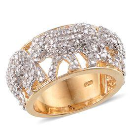Diamond (Rnd) Tiger Ring in 14K Gold Overlay Sterling Silver 0.250 Ct.