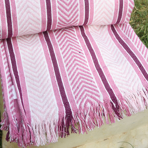 Pink, Burgundy and White Colour Throw (Size 150x120 Cm)