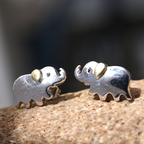 Platinum and Yellow Gold Overlay Sterling Silver Baby Elephant Stud Earrings (with Push Back), Silver wt 3.10 Gms.