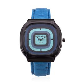 STRADA Japenese Movement Blue and Black Dial Water Resistant Watch in Black Tone with Stainless Steel Back and Blue Strap