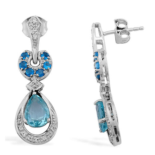 J Francis Celebrity- Paraibe Apatite, Malgache Neon Apatite, White Topaz Platinum Overlay Sterling Silver Earring 2.500 Ct.