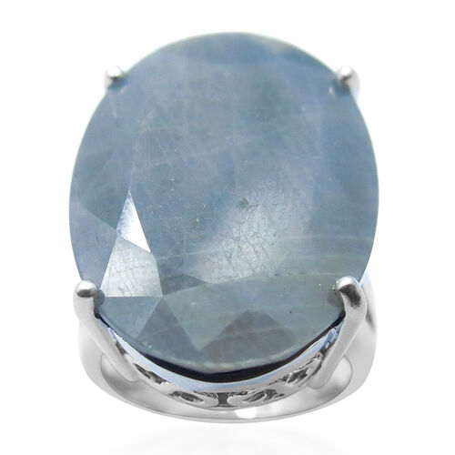 Natural Silver Sapphire (Ovl) Solitaire Ring in Rhodium Plated Sterling Silver 32.500 Ct.