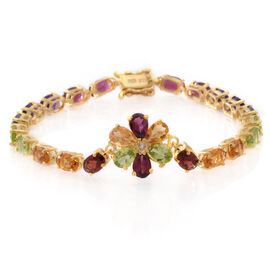 Multi GemStones (Ovl), White Topaz Bracelet (Size 7) in 14K Gold Overlay Sterling Silver 13.000 Ct.