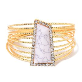 AAA White Austrian Crystal Bangle (Size 8.5) in Yellow Gold Tone