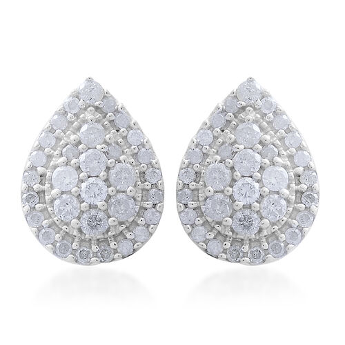 9K White Gold 1 Carat Diamond Pear Cluster Stud Earrings SGL Certified I3 G-H