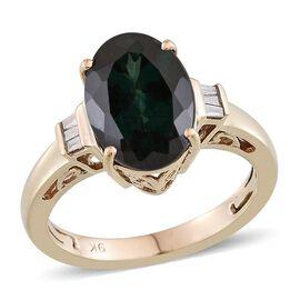 9K Y Gold Ocean Blue Apatite (Ovl 4.52 Ct), Diamond Ring 4.600 Ct.