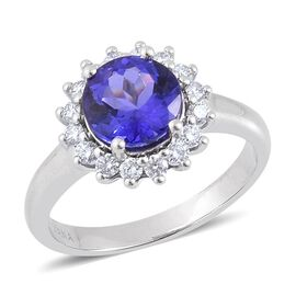 ILIANA 18K W Gold AAA Tanzanite (Rnd 2.00 Ct), Diamond Ring 2.500 Ct.