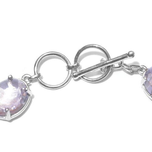 Super Auction-AAA Rose De France Amethyst (Ovl), Rhodolite Garnet Bracelet (Size 7.5) in Platinum Overlay Sterling Silver 30.500 Ct.