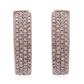 Exclusive Edition ILIANA 18K R Gold Natural Pink Diamond (Rnd) (SI/I-J) Hoop Earrings (with Clasp) 1.000 Ct. Gold Wt 7.70 Gms