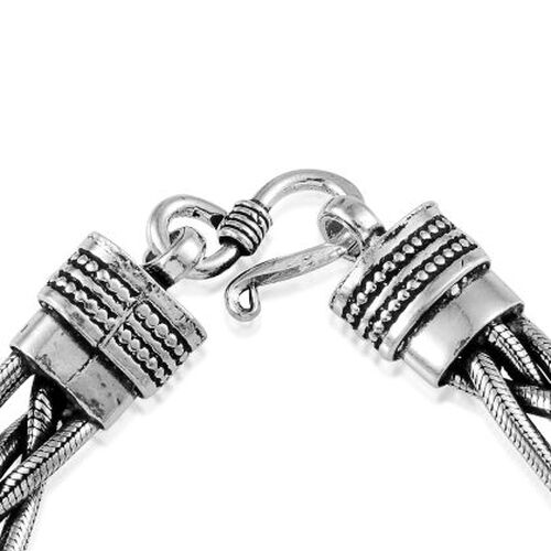 Jewels of India Sterling Silver Braided Bracelet (Size 7.5), Silver wt 33.60 Gms.