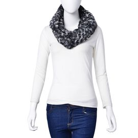 Black and White Colour Leopard Pattern Infinity Scarf (Size 75x20 Cm)