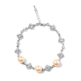 (Option 2) Fresh Water Peach Pearl and Simulated White Diamond Bracelet (Size 9 with Extender) in Silver Tone 25.000 Ct.