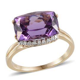 9K Y Gold Lusaka Amethyst (Cush 5.50 Ct), Diamond Ring 5.600 Ct.