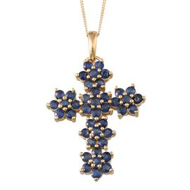 Kanchanaburi Blue Sapphire (Rnd) Floral Cross Pendant With Chain in 14K Gold Overlay Sterling Silver 4.250 Ct.
