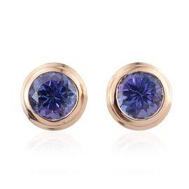14K Yellow Gold 1.75 Carat AA Tanzanite Bezel Set Stud Earrings with Push Back