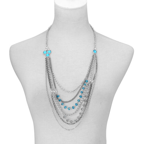 Simulated Aquamarine, Simulated Grey Moonstone, White Austrian Crystal and Simulated Stone Multi Strand Necklace (Size 27 with 3 inch Extender) in Silver Tone
