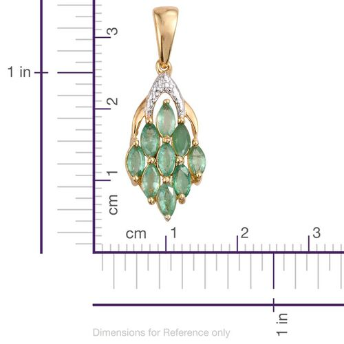 Kagem Zambian Emerald (Mrq) Pendant in 14K Gold Overlay Sterling Silver 1.250 Ct.