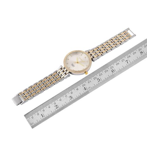 STRADA Japanese Movement White Austrian Crystal Studded Watch in Yellow Gold and Silver Tone with Stainless Steel Back